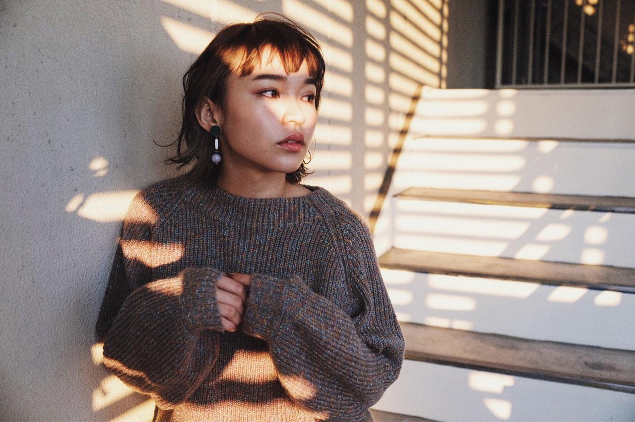 小顔 外ハネ ボブ ショートボブヘアスタイルや髪型の写真・画像