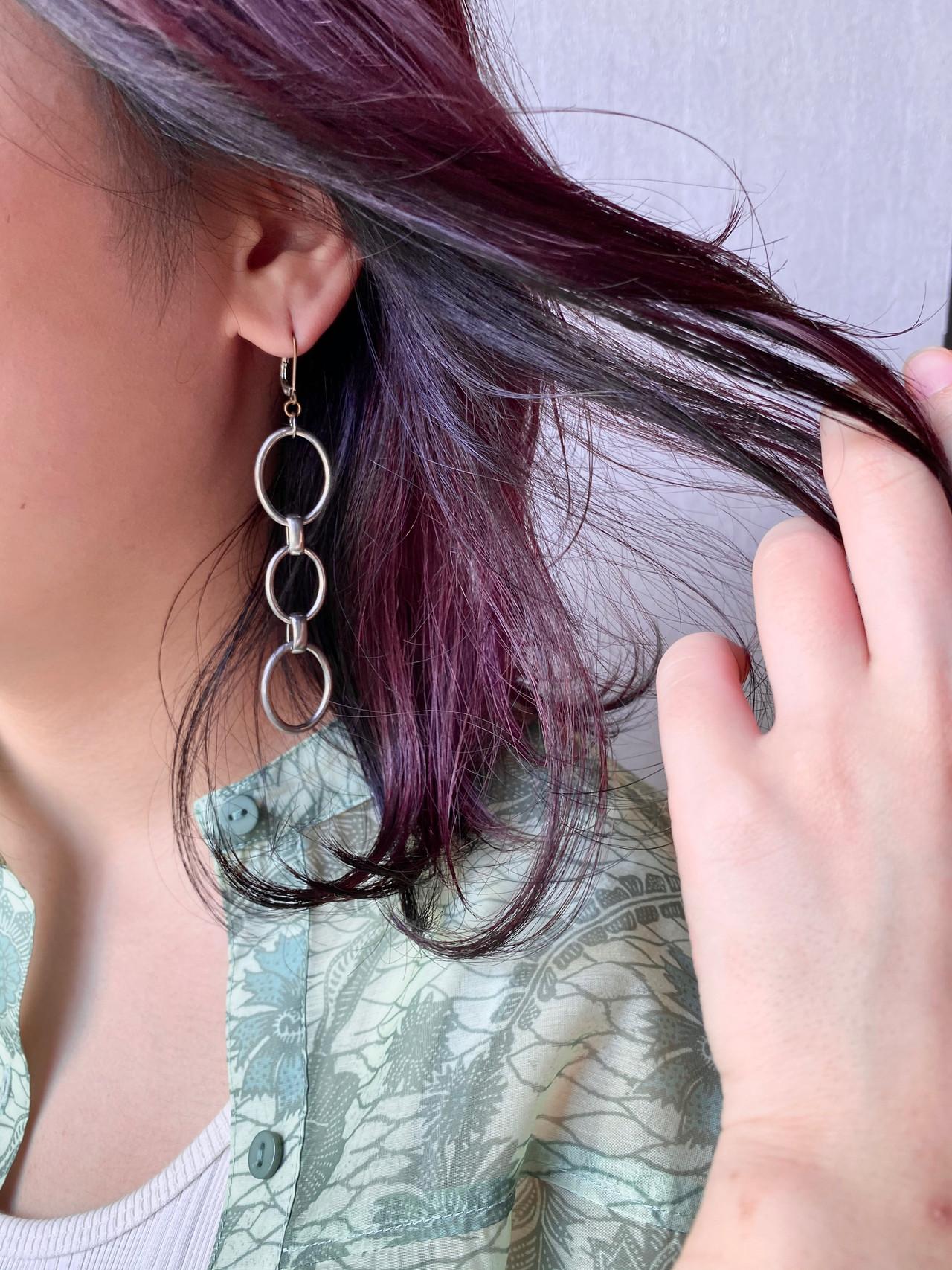 ストリート ローライト バイオレット パープル ヘアスタイルや髪型の写真・画像