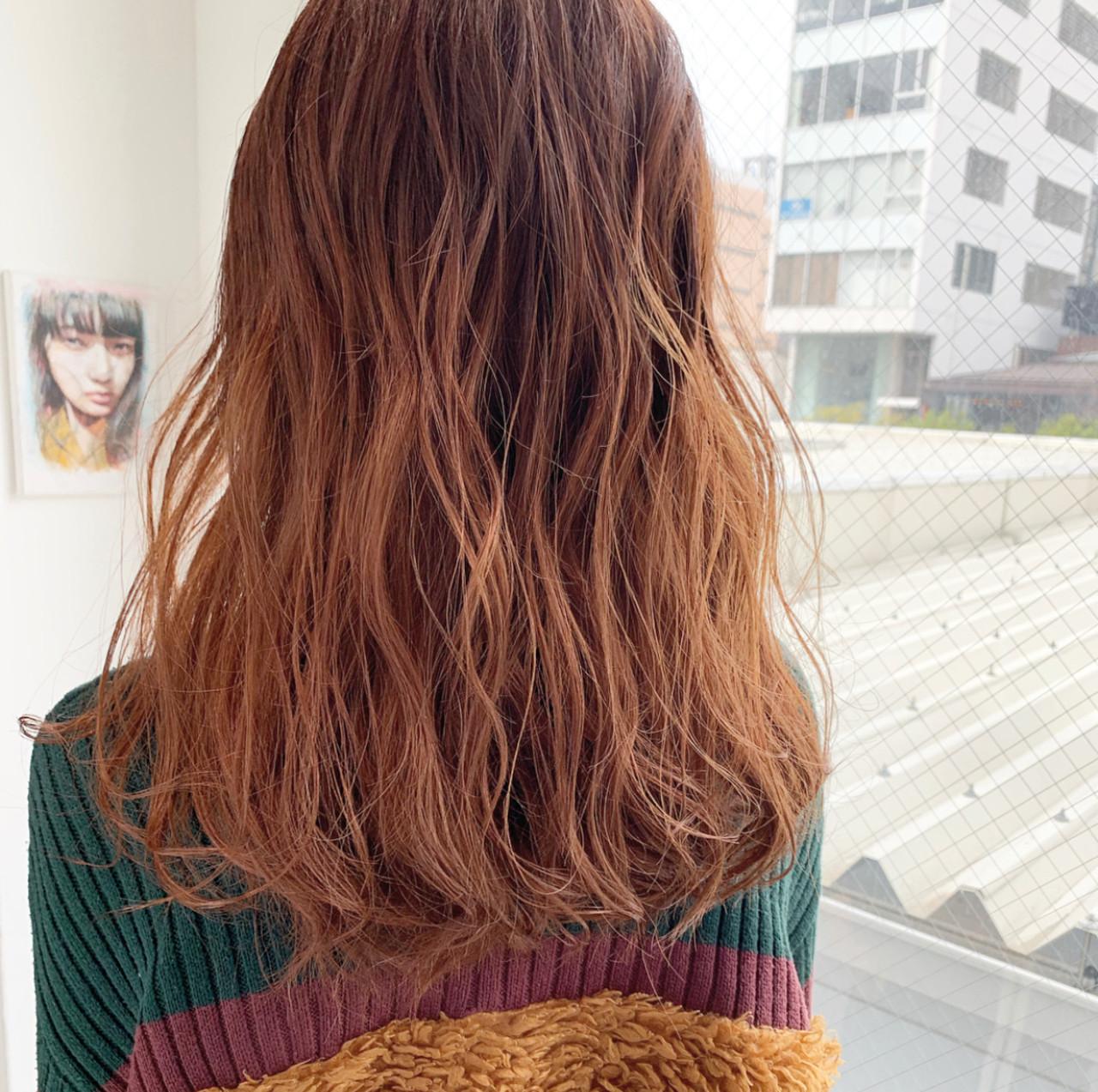 外国人風カラー 韓国ヘア オレンジベージュ ヘアアレンジ ヘアスタイルや髪型の写真・画像 | 中村明俊 / HAVANA 天神