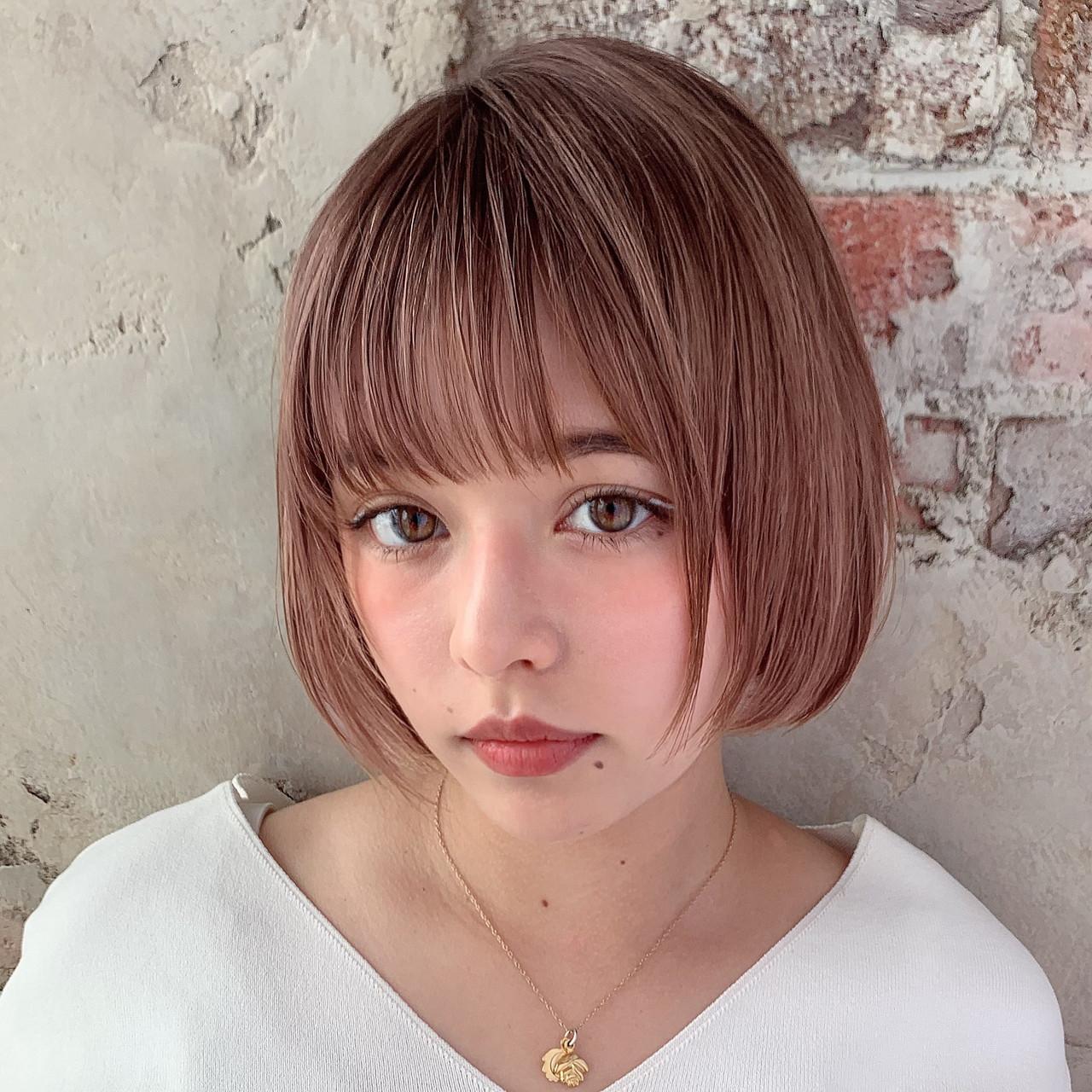お洒落 ミニボブ 小顔ヘア ナチュラル ヘアスタイルや髪型の写真・画像