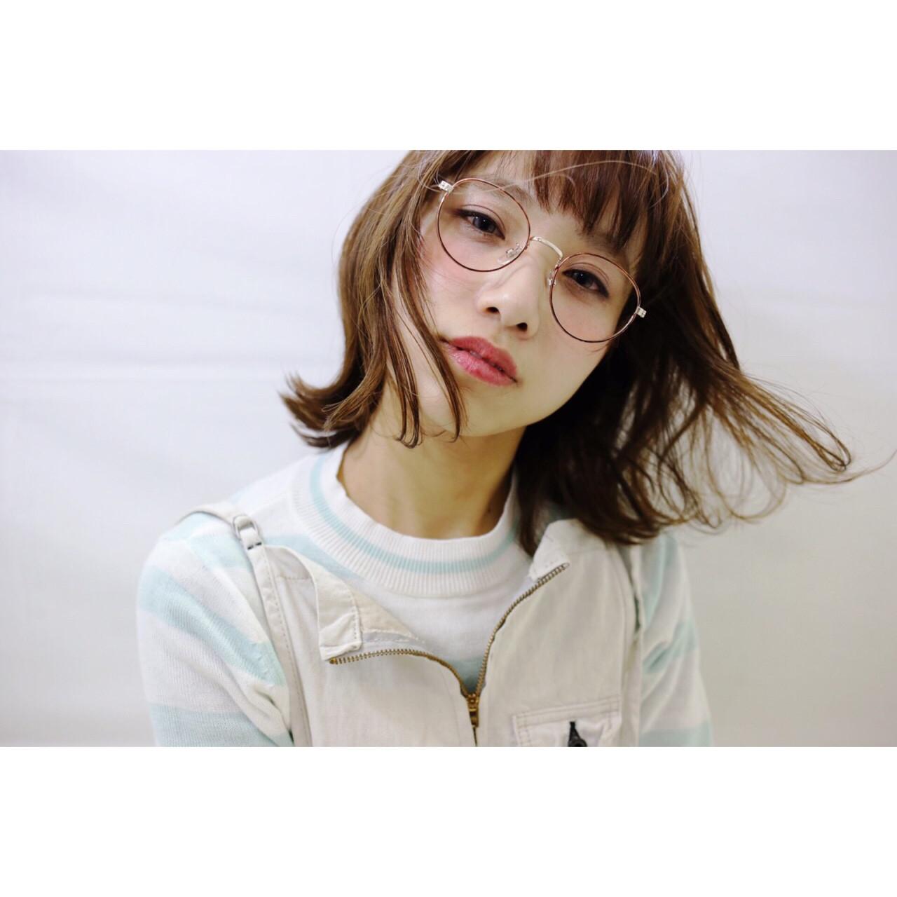 外ハネ ボブ ストリート ハイライト ヘアスタイルや髪型の写真・画像 | Miki /