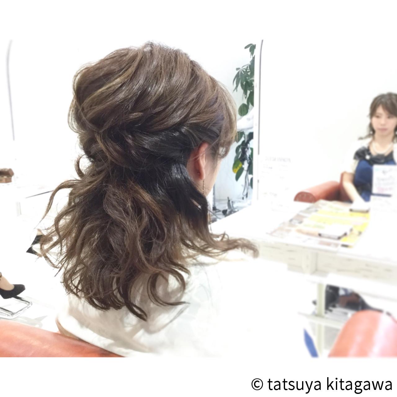 簡単ヘアアレンジ ゆるふわ ミディアム ショートヘアスタイルや髪型の写真・画像