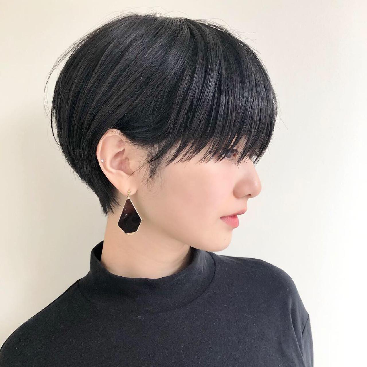 小顔 モード デート 前髪ありヘアスタイルや髪型の写真・画像