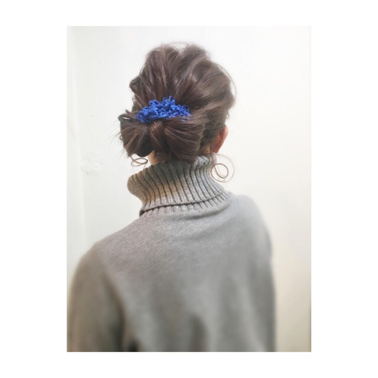ミディアム ヘアアレンジ 簡単ヘアアレンジ 暗髪 ヘアスタイルや髪型の写真・画像 | COM PASS 太一 / COM PASS