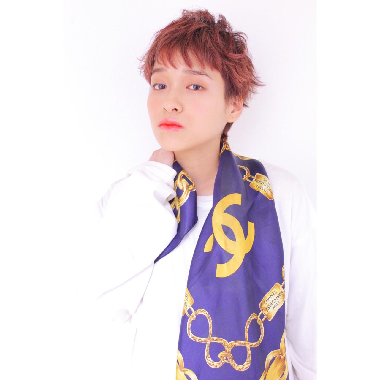 ベリーピンク フェミニン ベリーショート マッシュ ヘアスタイルや髪型の写真・画像 | 堂園知里 / hair Mission