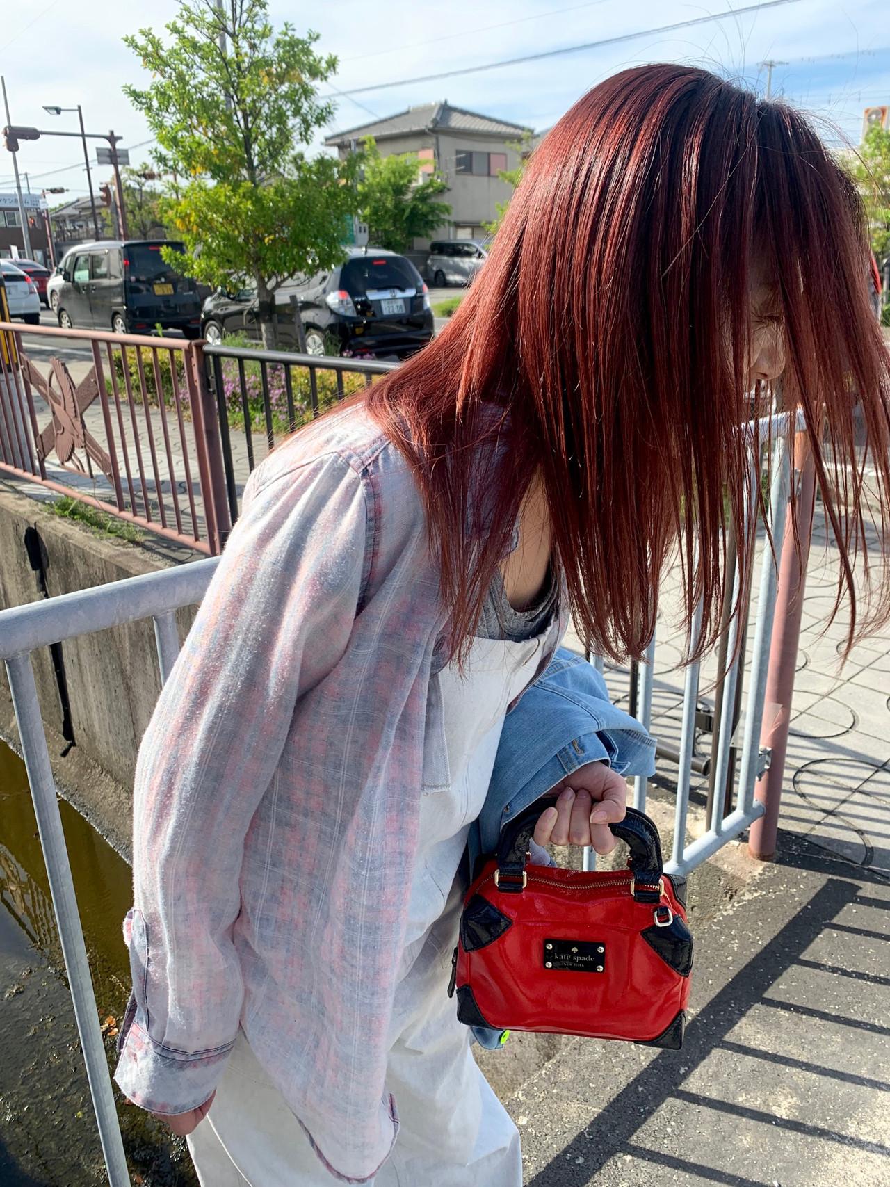 ダブルカラー オレンジカラー オレンジ ロング ヘアスタイルや髪型の写真・画像 | sowi 阿部 辰也 / sowi hair design ソーイ