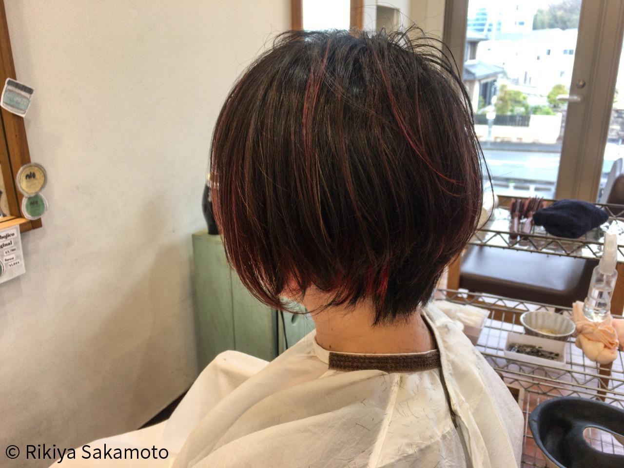 インナーカラー バレイヤージュ ストリート ショートボブ ヘアスタイルや髪型の写真・画像 | Rikiya Sakamoto / Seasonal-Lab(旧ディーズガレージ)