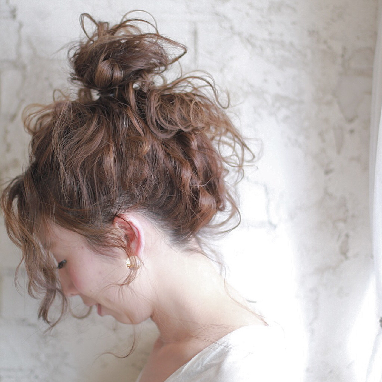 ハーフアップ セミロング ヘアアレンジ 夏 ヘアスタイルや髪型の写真・画像 | 廣田哲也 / nalu hair