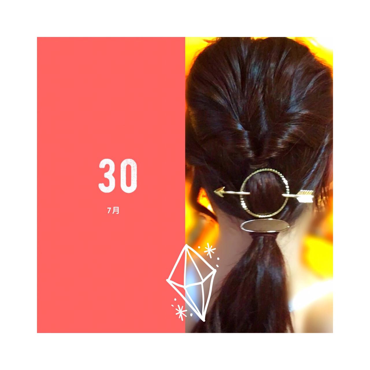 簡単ヘアアレンジ くるりんぱ フェミニン ロングヘアスタイルや髪型の写真・画像