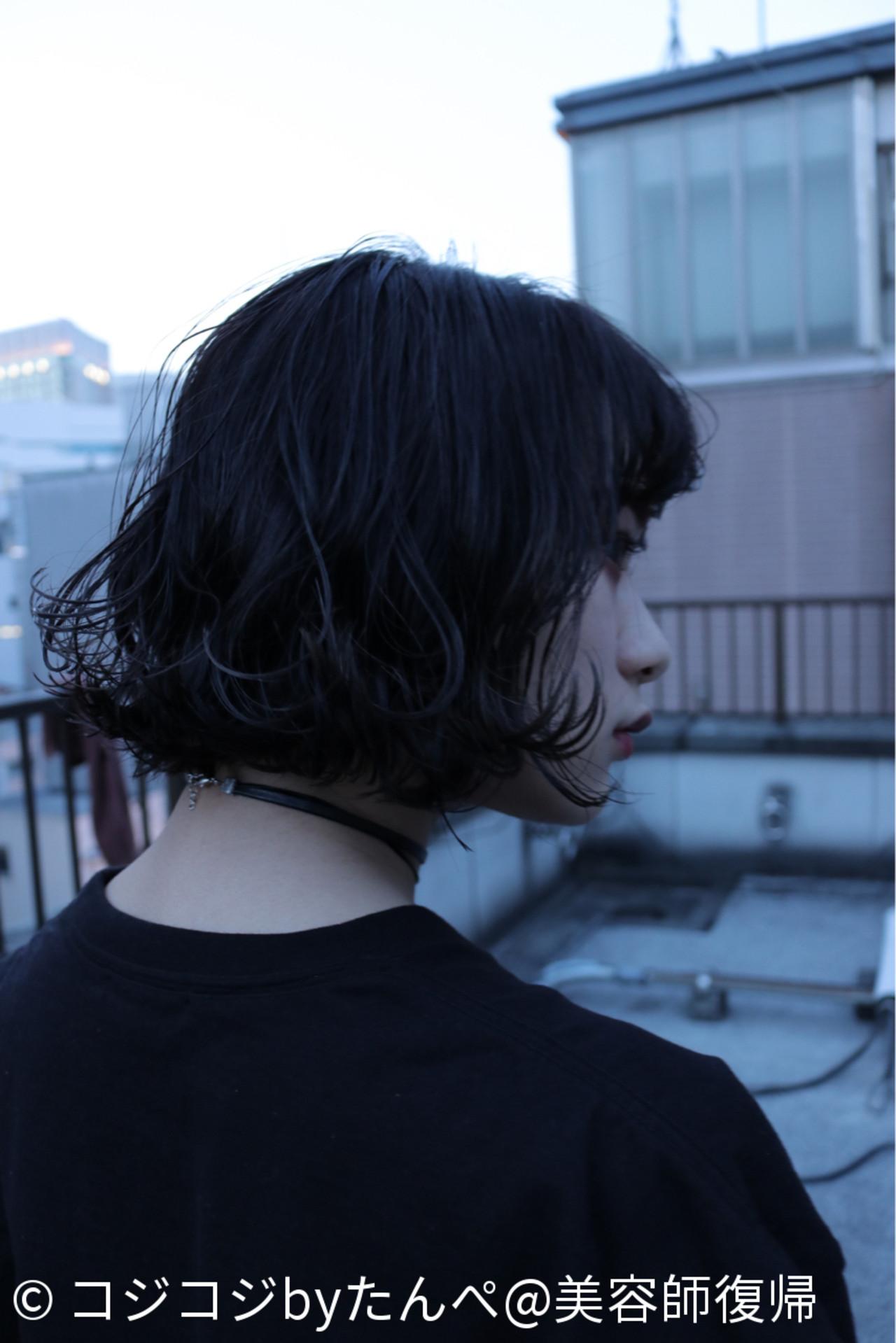 ウェットヘア 黒髪 ストリート アンニュイ ヘアスタイルや髪型の写真・画像 | コジコジbyたんぺ@美容師復帰 / fossette