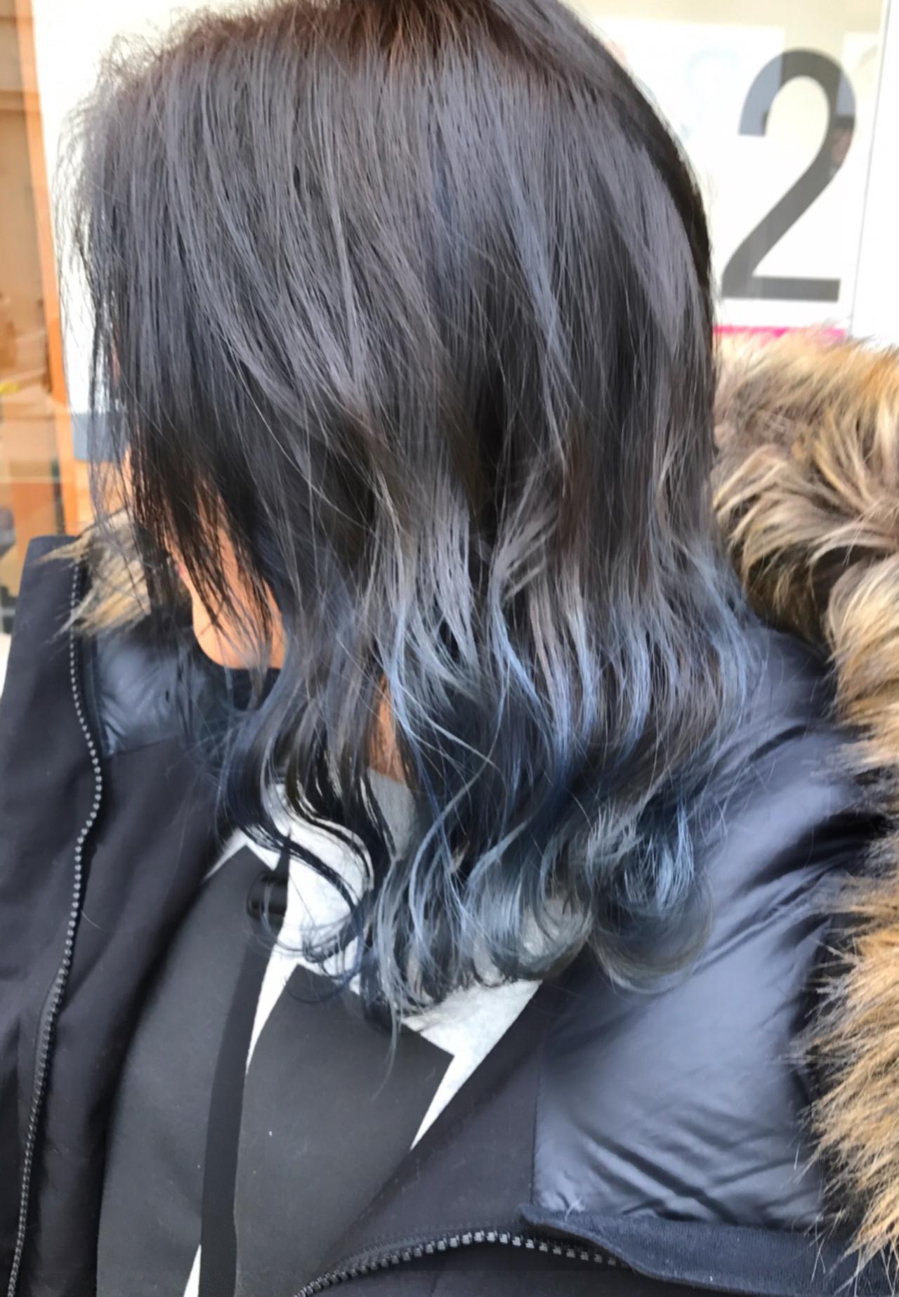 バレイヤージュ セミロング ストリート 簡単ヘアアレンジヘアスタイルや髪型の写真・画像