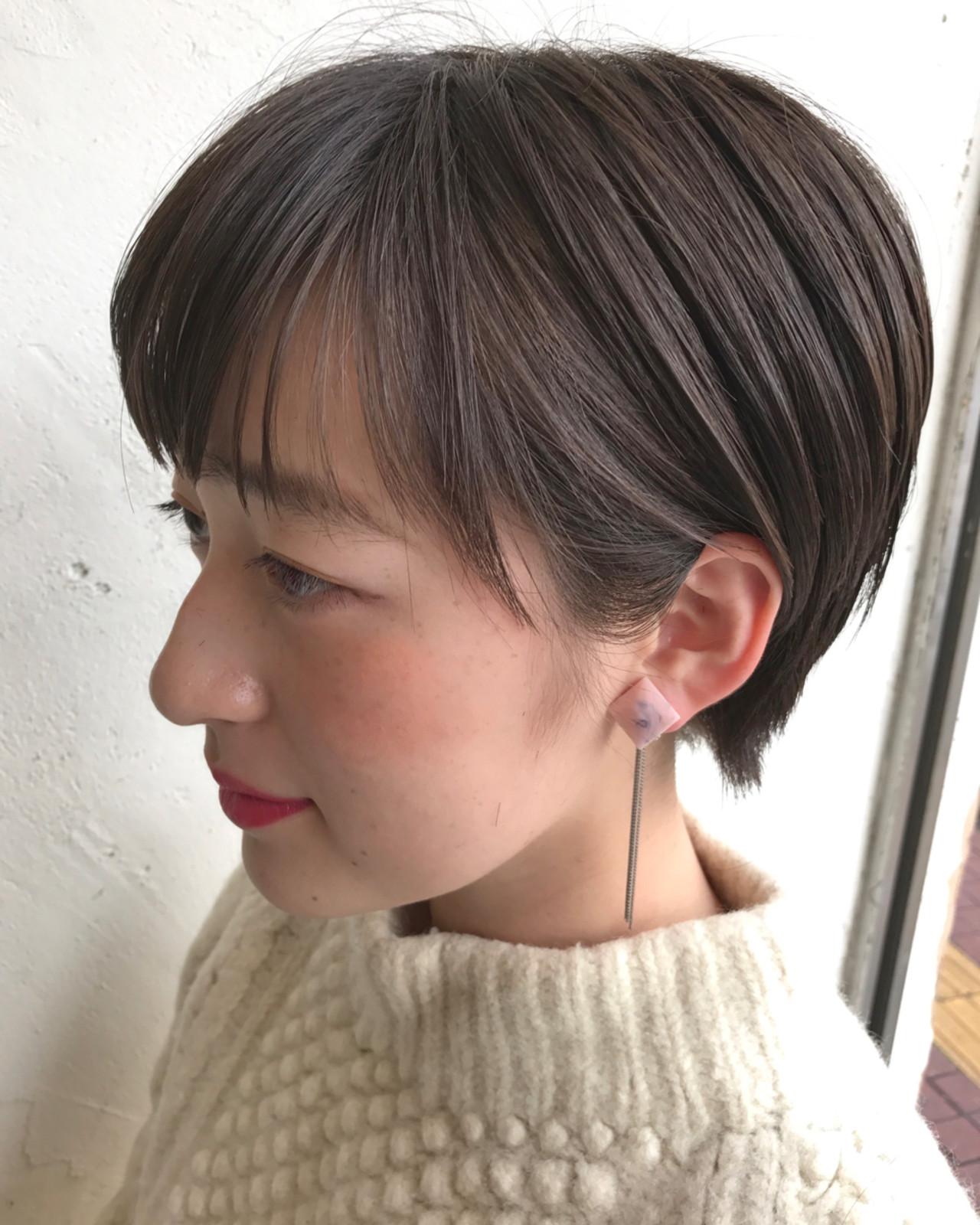 大人女子 ミルクティー ショート ショートボブヘアスタイルや髪型の写真・画像