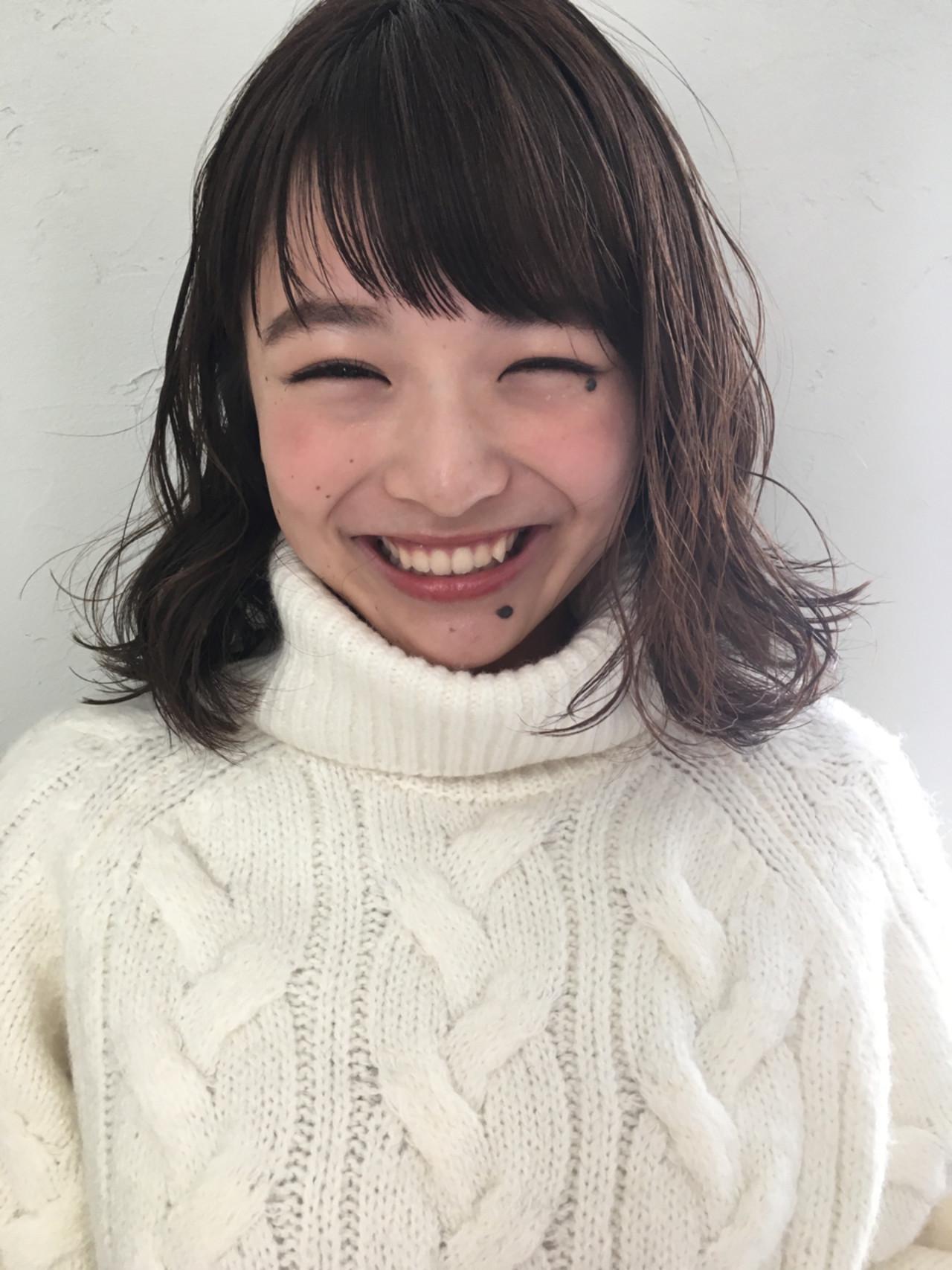 リラックス 暗髪 前髪あり パーマ ヘアスタイルや髪型の写真・画像 | joemi by unami 森千里 / joemi by unami 新宿