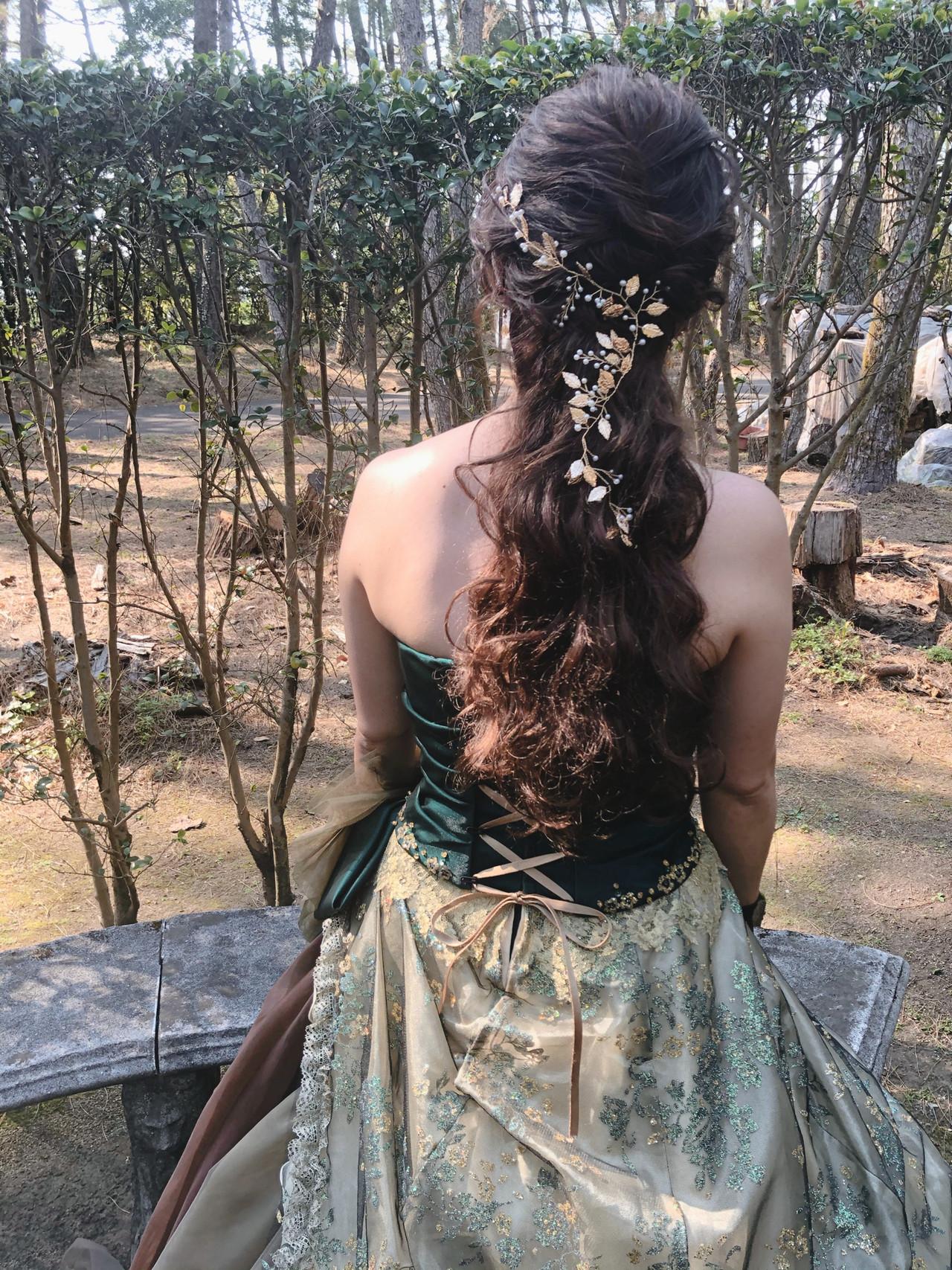 結婚式 ヘアセット ハーフアップ ブライダル ヘアスタイルや髪型の写真・画像 | mai / HAIR SALON STELLA