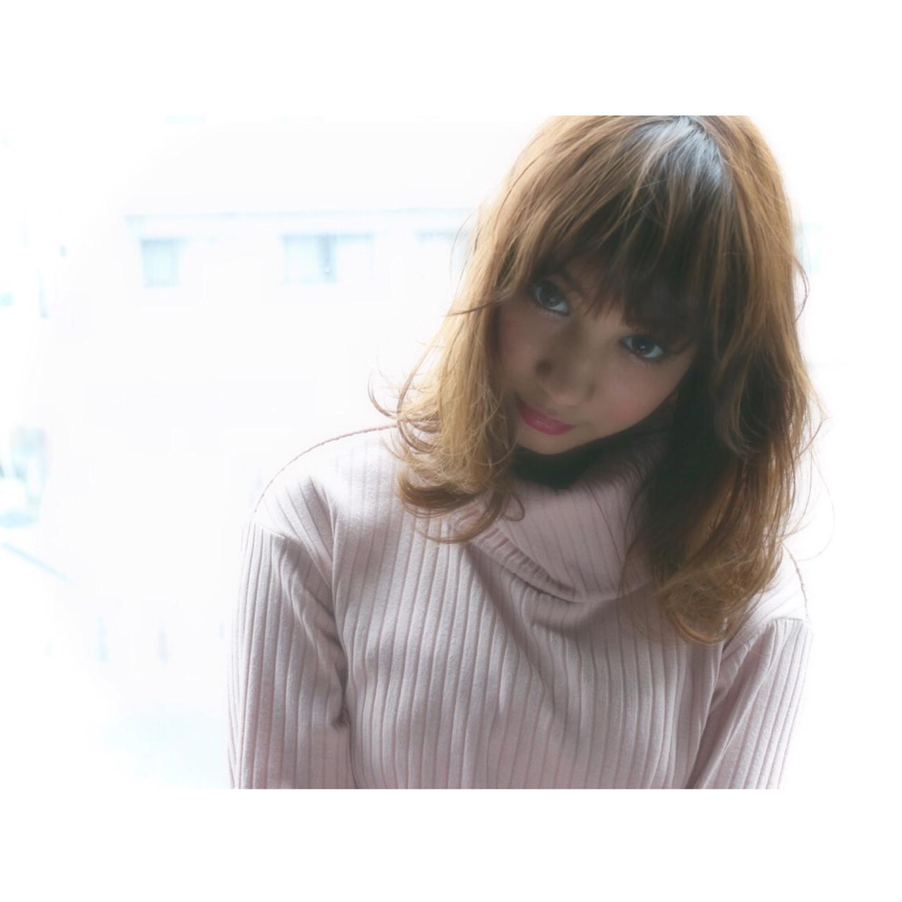 ゆるふわ ナチュラル フェミニン セミロング ヘアスタイルや髪型の写真・画像   Shoichiro Toyota / soin de brace 西大寺