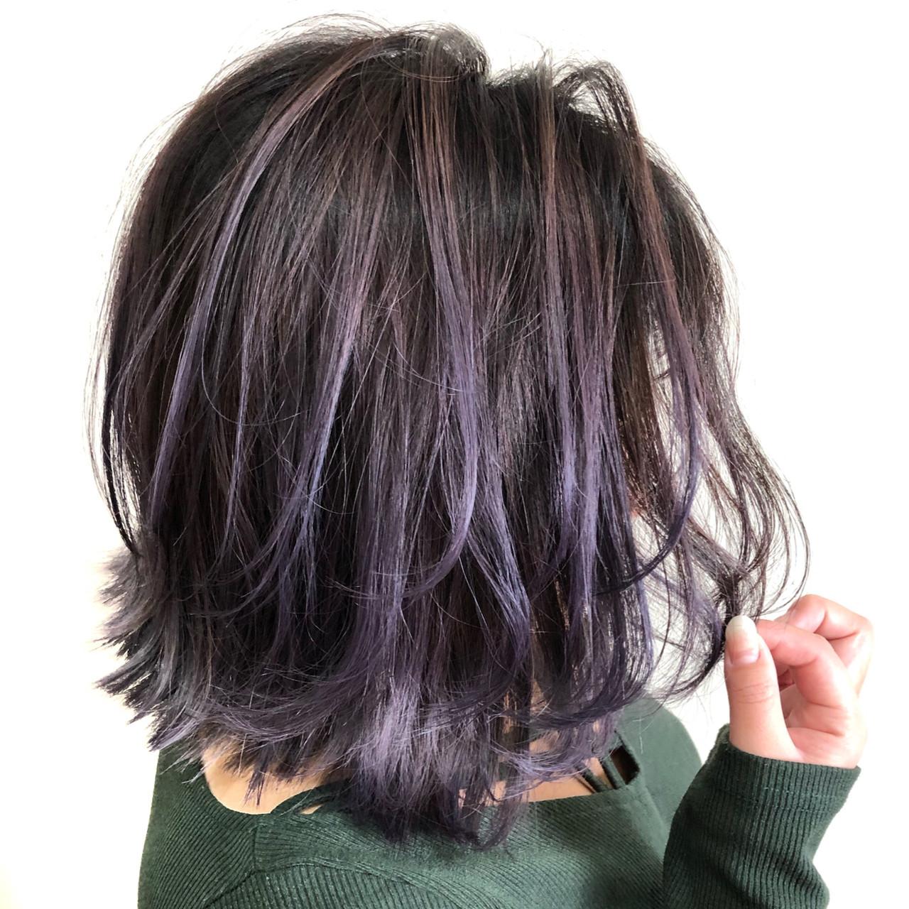外国人風カラー フェミニン ピンクパープル バレイヤージュ ヘアスタイルや髪型の写真・画像 | 蝦名貴之 / KINTARO