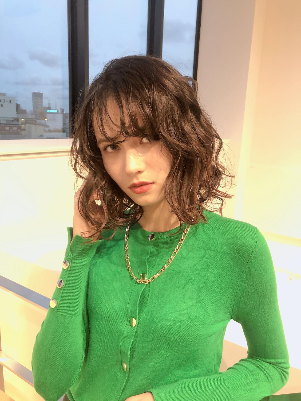 ボブ モード ファッション デジタルパーマ ヘアスタイルや髪型の写真・画像