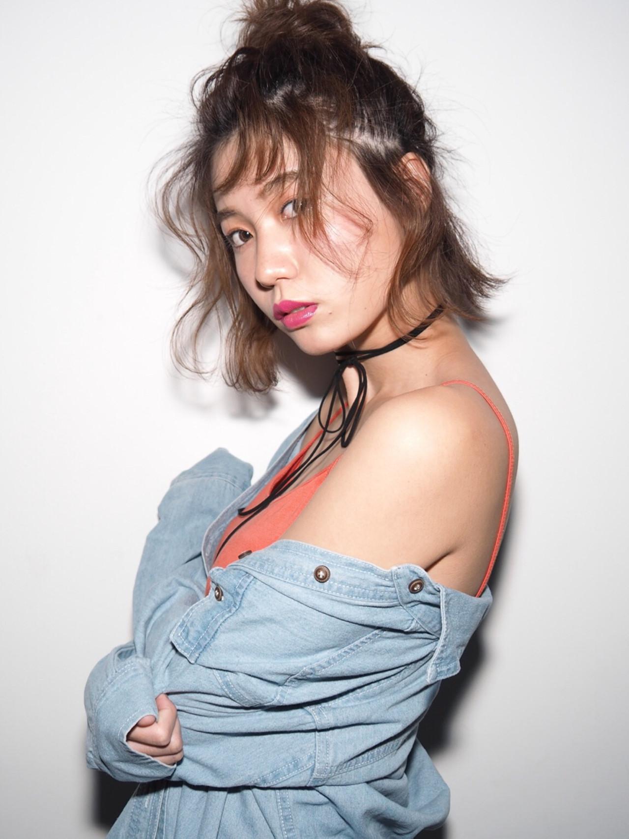 フェミニン こなれ感 簡単ヘアアレンジ ボブヘアスタイルや髪型の写真・画像