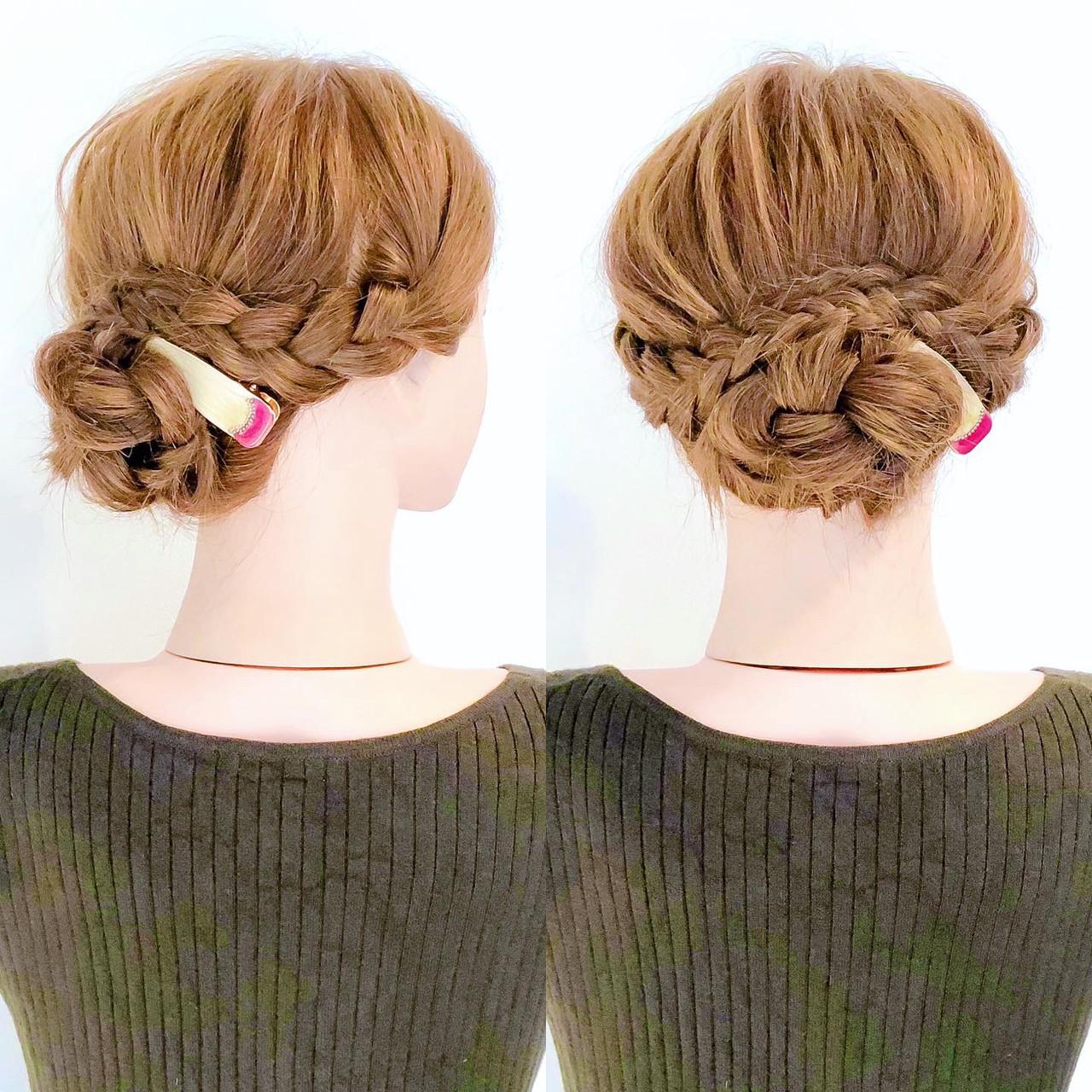セルフヘアアレンジ アップスタイル 三つ編み お団子アレンジ ヘアスタイルや髪型の写真・画像