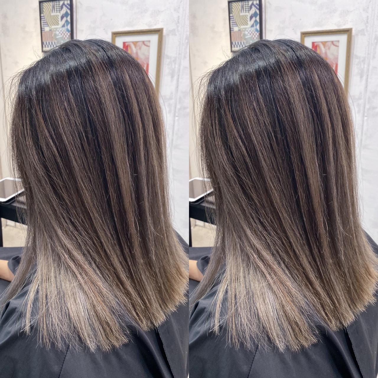ホワイトハイライト ミルクティーベージュ コントラストハイライト ボブ ヘアスタイルや髪型の写真・画像 | 寺坂 雄飛 / banks hair