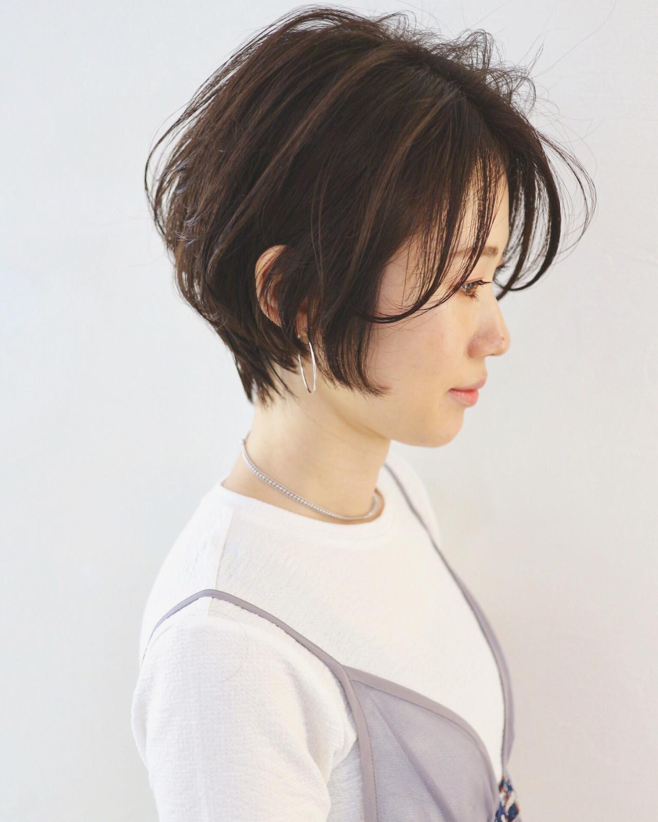 暗髪 黒髪 ナチュラル 大人ショート ヘアスタイルや髪型の写真・画像 | 三好 佳奈美 / Baco.(バコ)