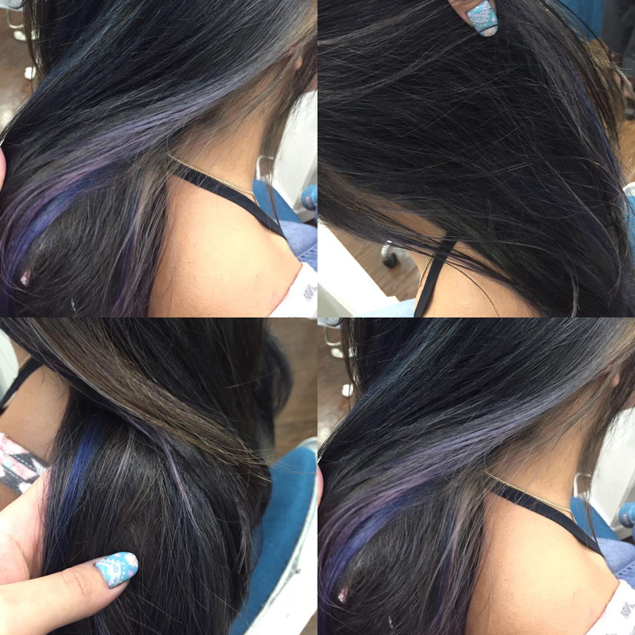ハイライト ダブルカラー ミディアム パープルヘアスタイルや髪型の写真・画像