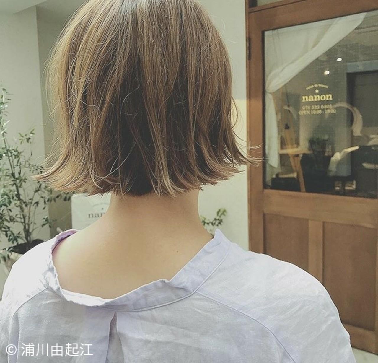 切りっぱなし ゆるふわ 秋冬ショート 外国人風 ヘアスタイルや髪型の写真・画像 | 浦川由起江 / nanon