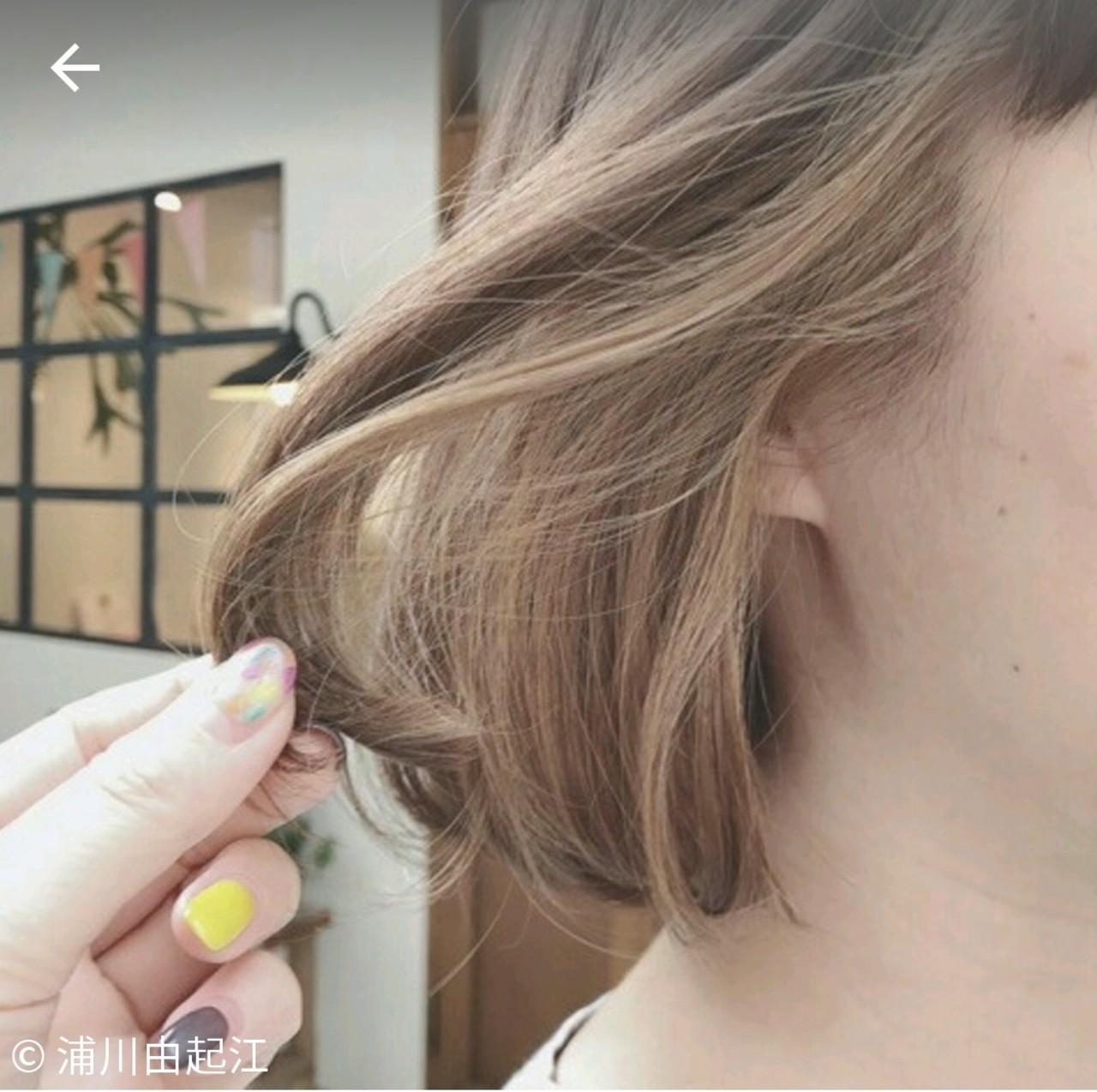 インナーカラー ボブ ゆるふわ デート ヘアスタイルや髪型の写真・画像 | 浦川由起江 / nanon