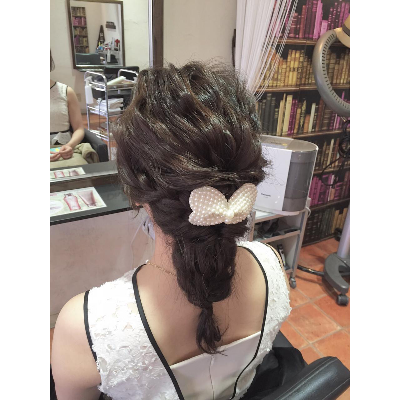 結婚式 ヘアアレンジ まとめ髪 編み込み ヘアスタイルや髪型の写真・画像 | 和田 早代 / Diversion