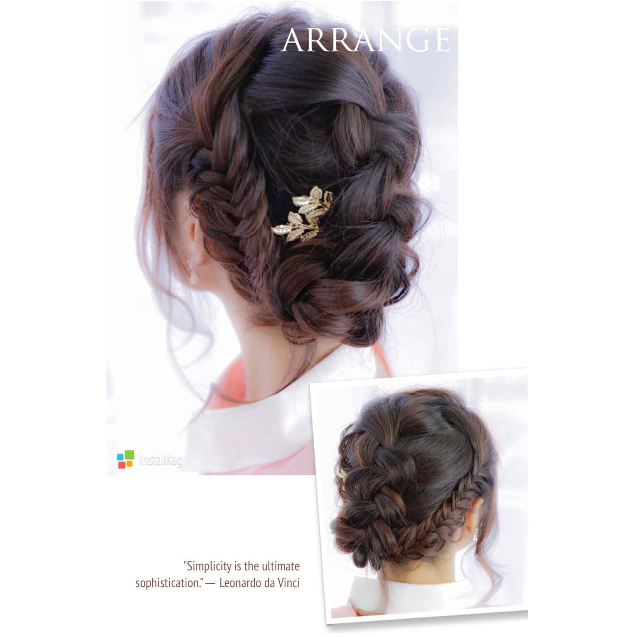 ショート 編み込み ヘアアクセ ミディアム ヘアスタイルや髪型の写真・画像 | 桜子 /