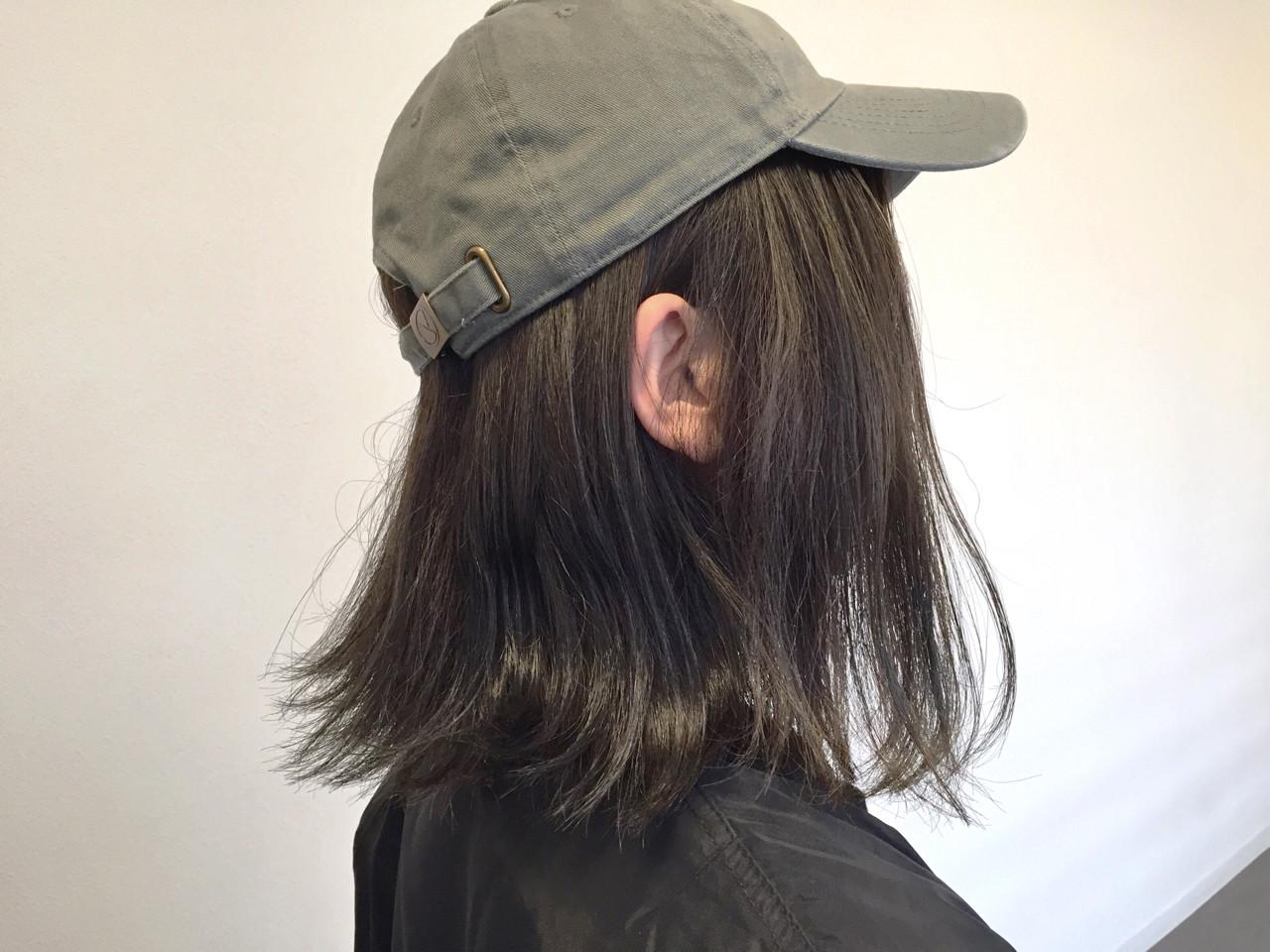 暗髪 アッシュ 外ハネ ボブ ヘアスタイルや髪型の写真・画像 | 岡田 耕太郎 / MIRA RESCA ミラレスカ栄