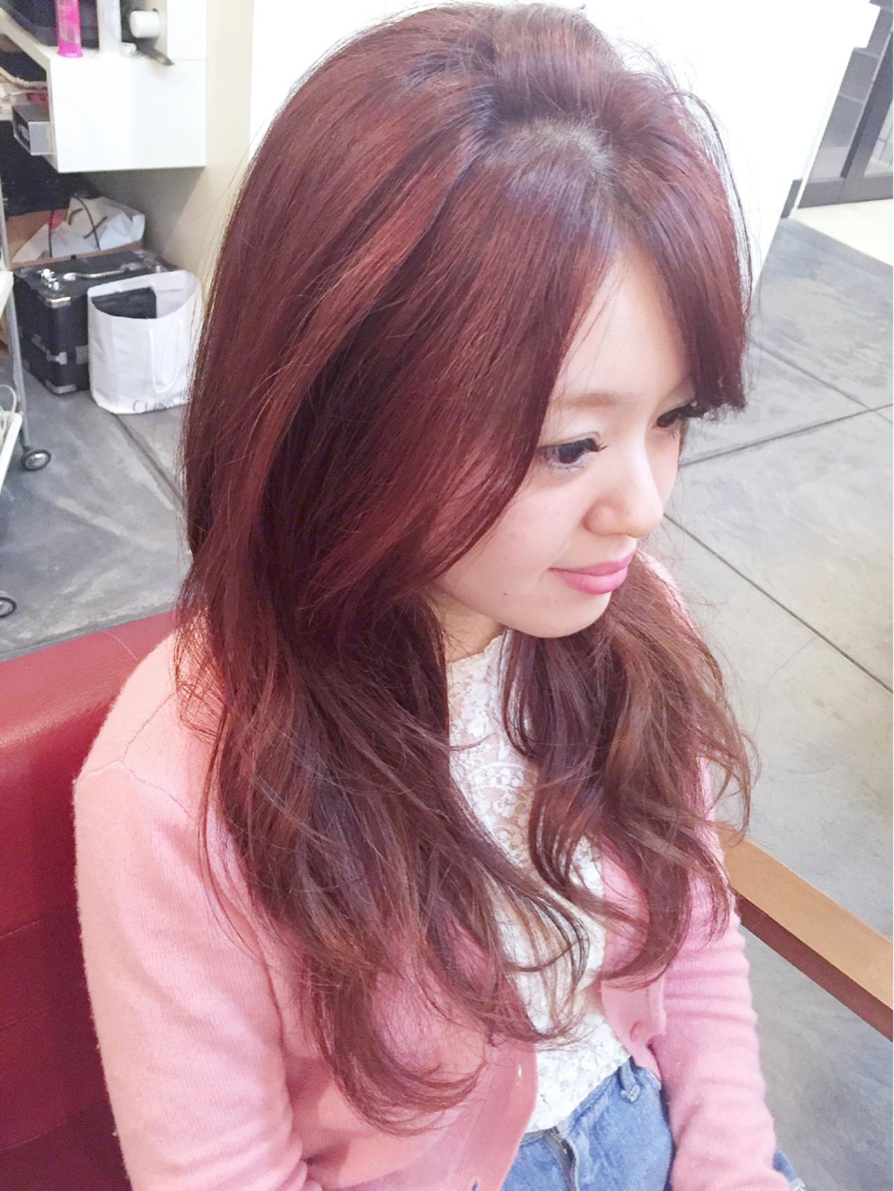 ロング ナチュラル レッド グラデーションカラー ヘアスタイルや髪型の写真・画像 | 田渕 英和/vicushair / vicushair