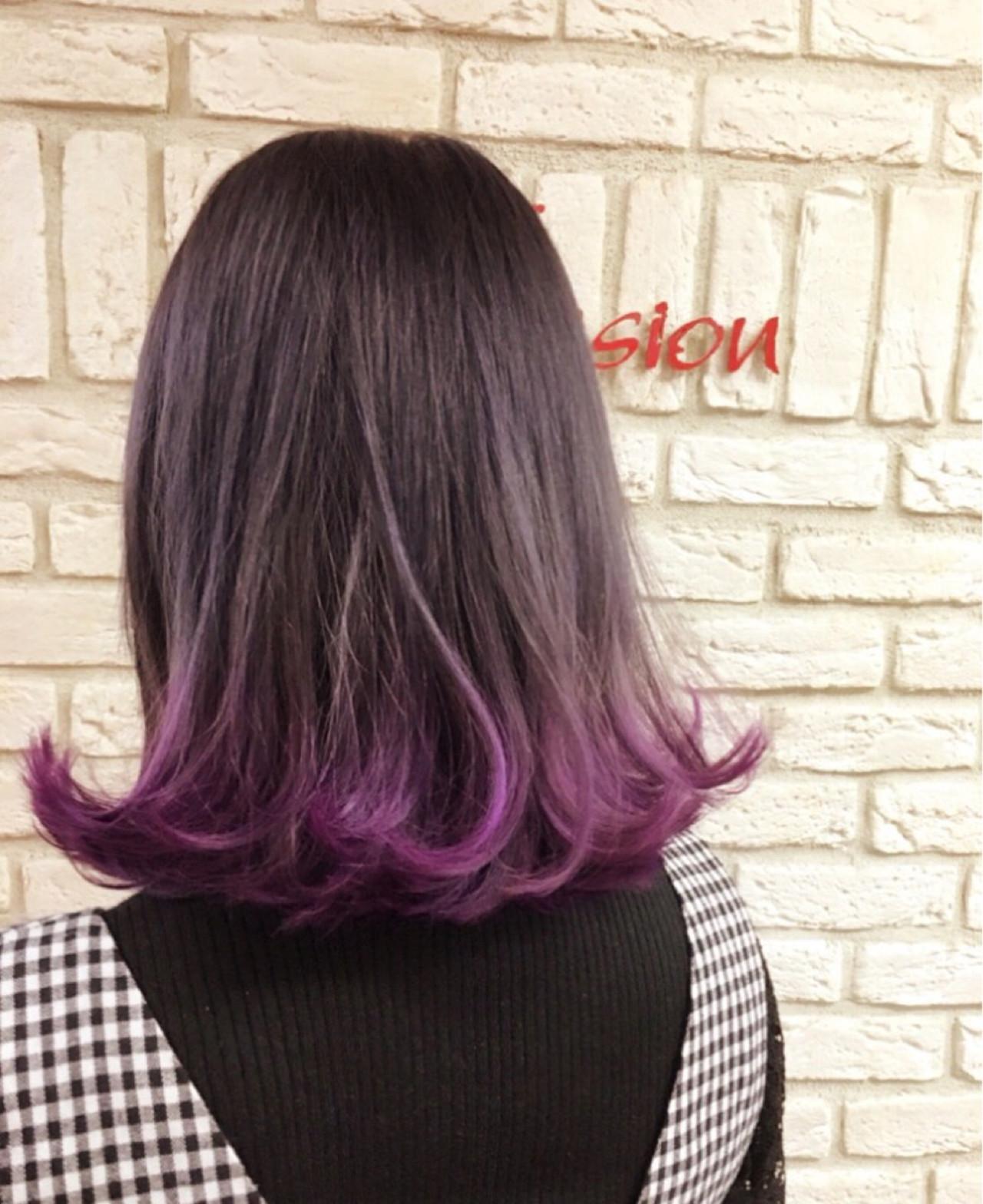 パープル ダブルカラー 原宿系 ストリート ヘアスタイルや髪型の写真・画像 | 渡海 典子 / Hair Mission