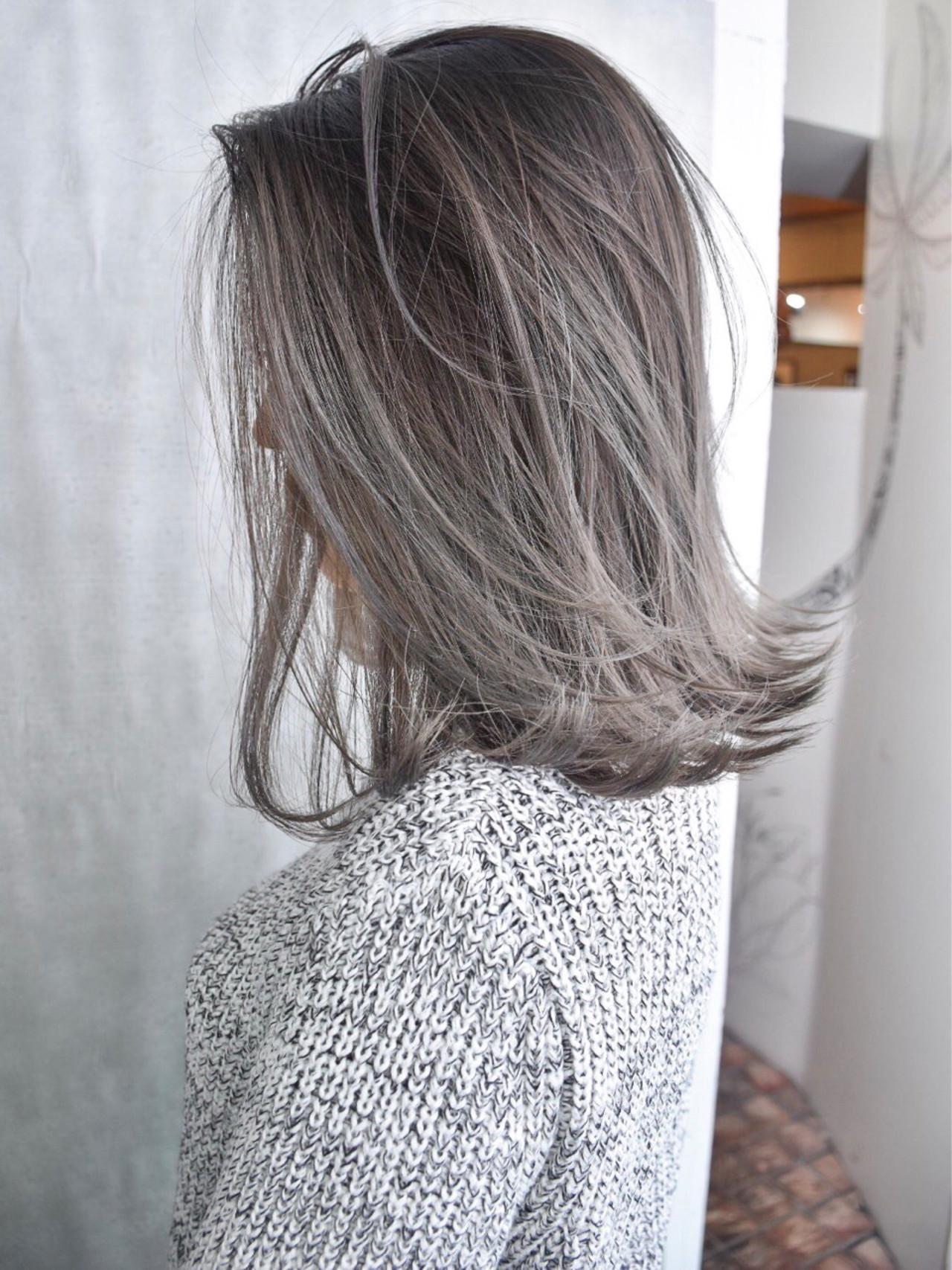 ミディアム 外国人風 外国人風カラー バレイヤージュ ヘアスタイルや髪型の写真・画像   池谷 翔平 / zelo