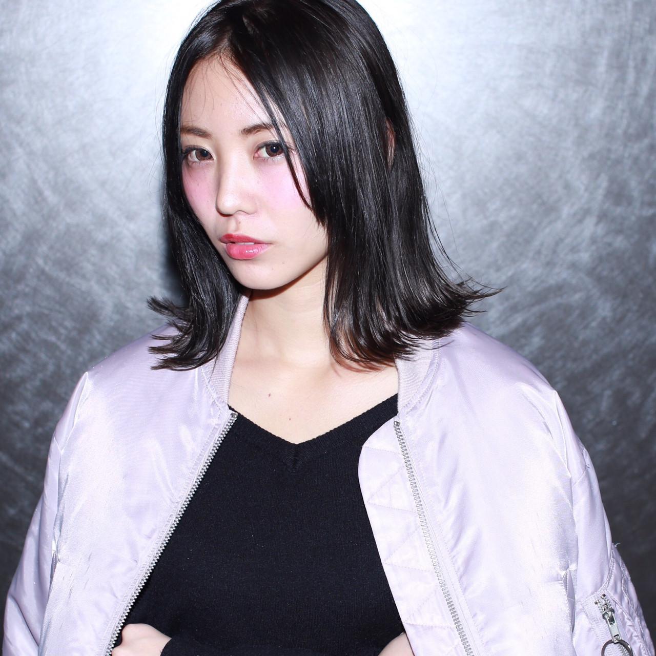 黒髪 ストリート 外ハネ 色気 ヘアスタイルや髪型の写真・画像 | イマムラ スナオ / LUKE