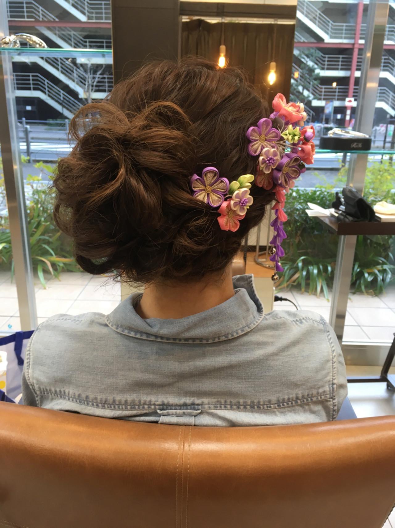 結婚式 セミロング 着物 ヘアアレンジヘアスタイルや髪型の写真・画像