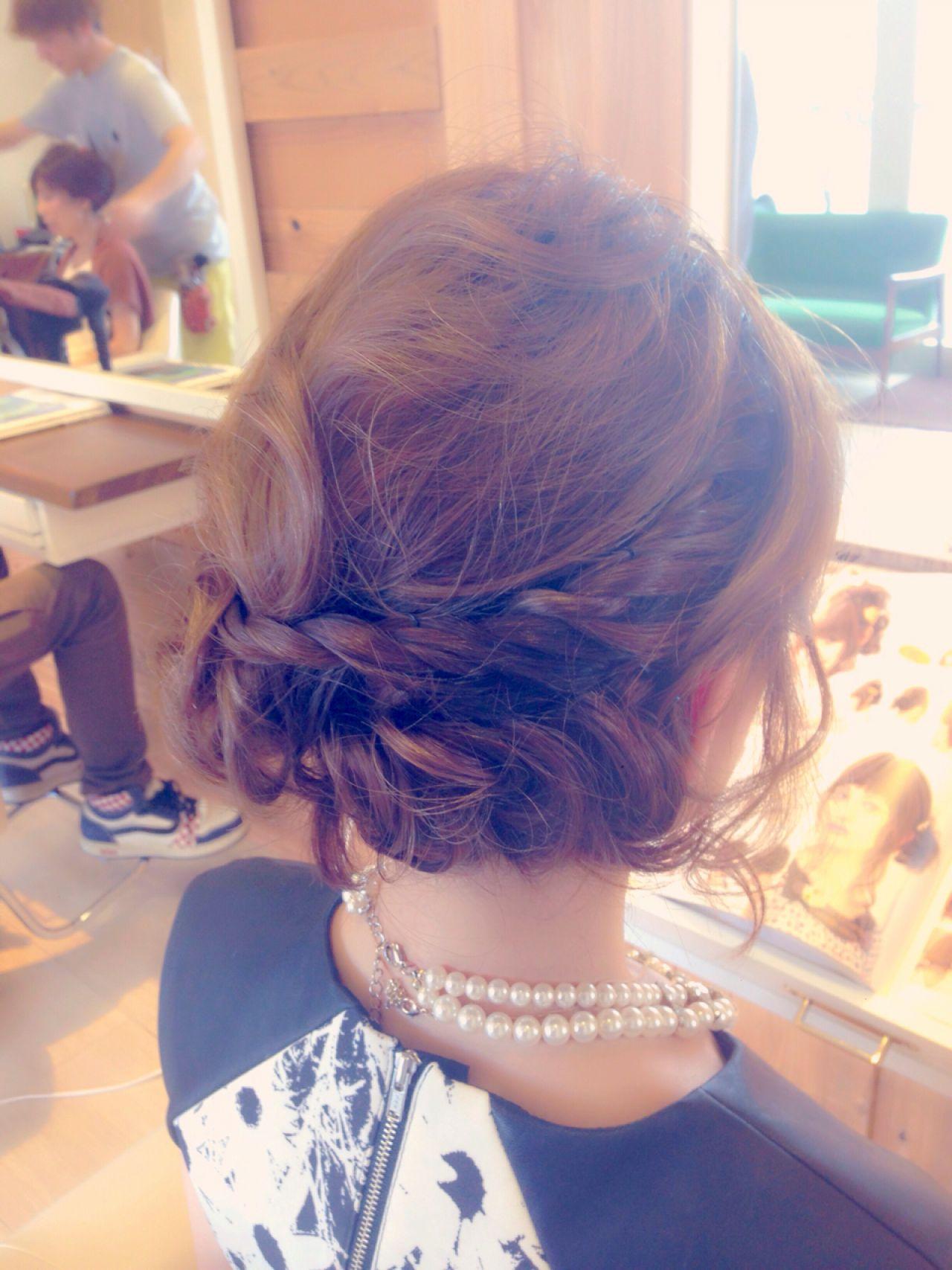 ヘアアレンジ パーティ ナチュラル 編み込み ヘアスタイルや髪型の写真・画像   岡 美里 / 福岡 久留米 arch