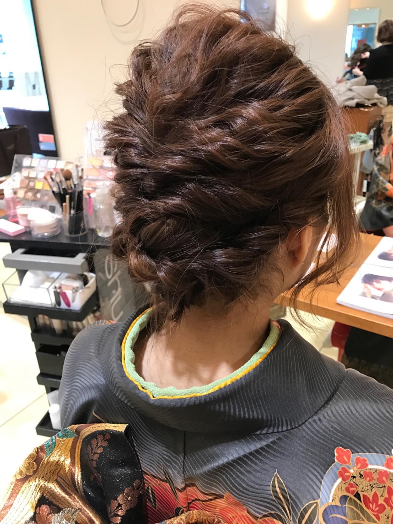 エレガント 編み込み ヘアアレンジ 上品ヘアスタイルや髪型の写真・画像
