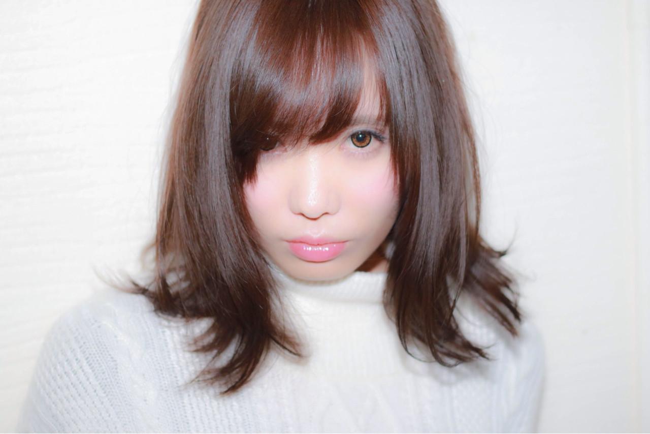大人かわいい モテ髪 ミディアム 前髪あり ヘアスタイルや髪型の写真・画像 | 坂本 葵 /