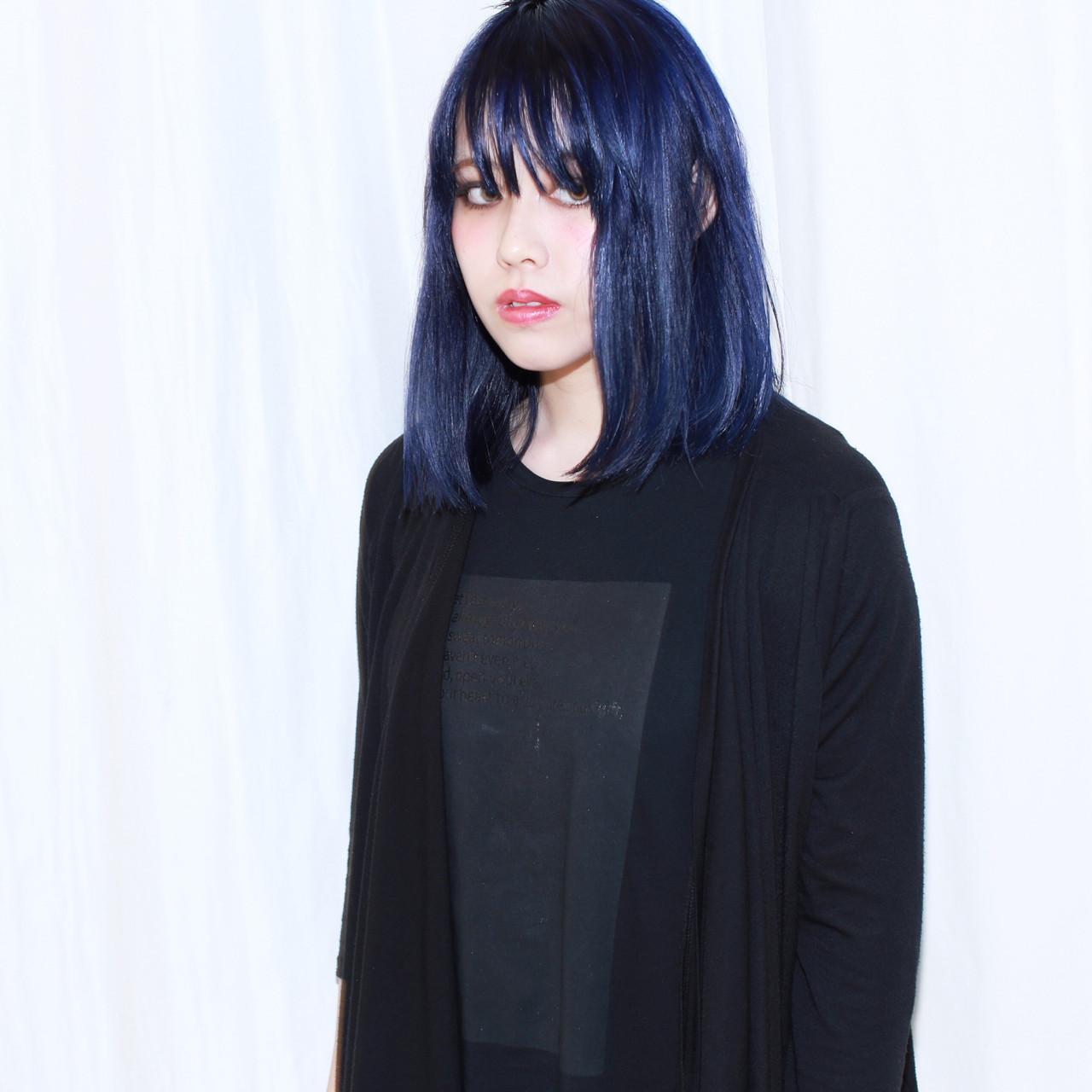 外国人風 ボブ ダブルカラー ネイビー ヘアスタイルや髪型の写真・画像 | イマムラ スナオ / LUKE