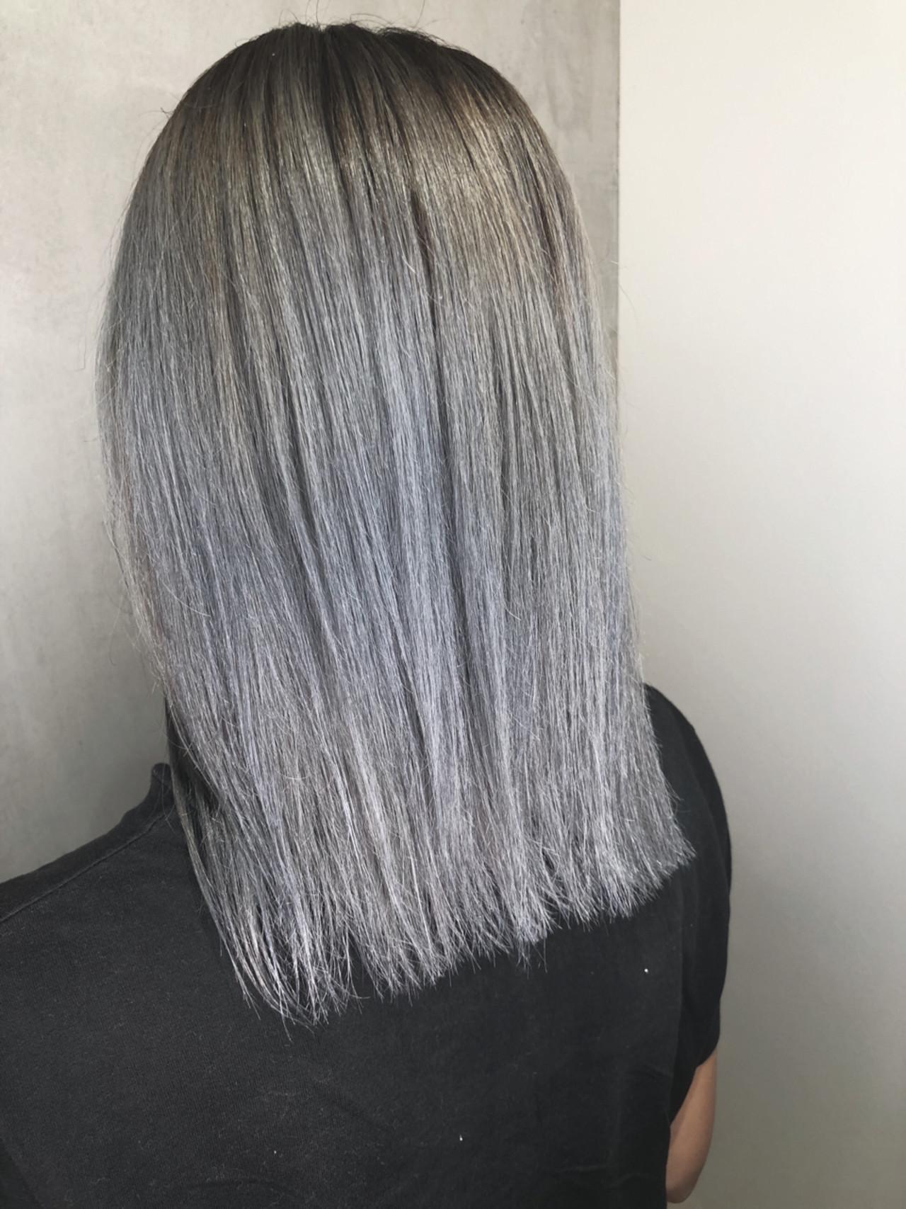 ボブ 外国人風 グレージュ ミディアム ヘアスタイルや髪型の写真・画像 | 筒井 隆由 / Hair salon mode