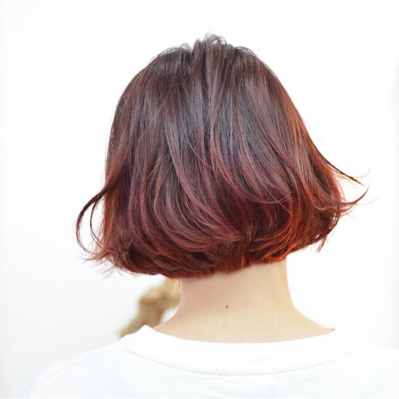 リラックス モード ピンク ボブヘアスタイルや髪型の写真・画像