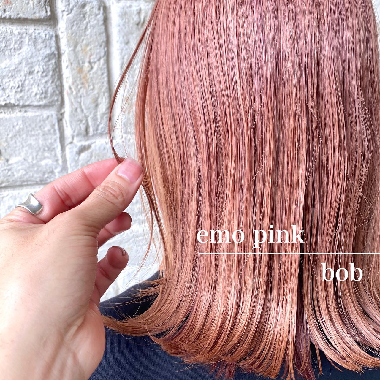 外ハネ ピンク ボブ フェミニン ヘアスタイルや髪型の写真・画像 | 中野 裕介/jap international / JAP international Ssalon