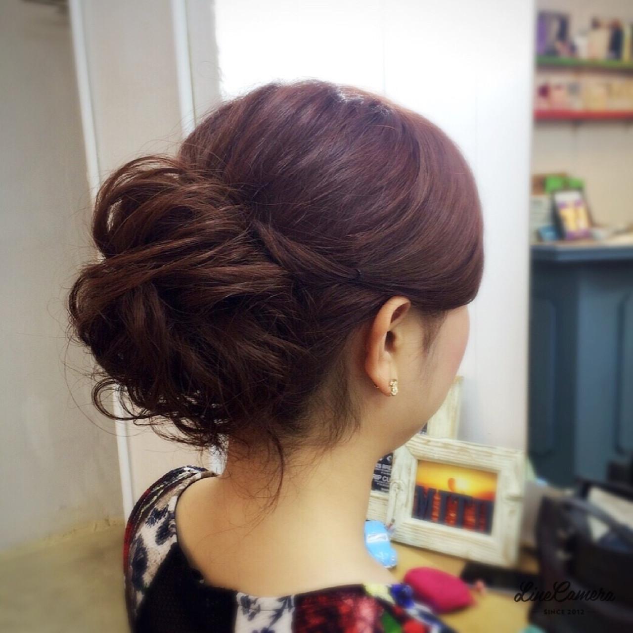 アップスタイル ねじり セミロング 簡単ヘアアレンジ ヘアスタイルや髪型の写真・画像 | 阪田充章 / MITU