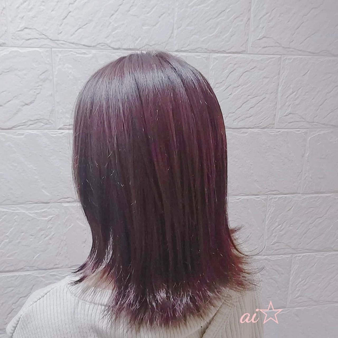 ピンクパープル 切りっぱなしボブ ピンクアッシュ ミディアムヘアスタイルや髪型の写真・画像