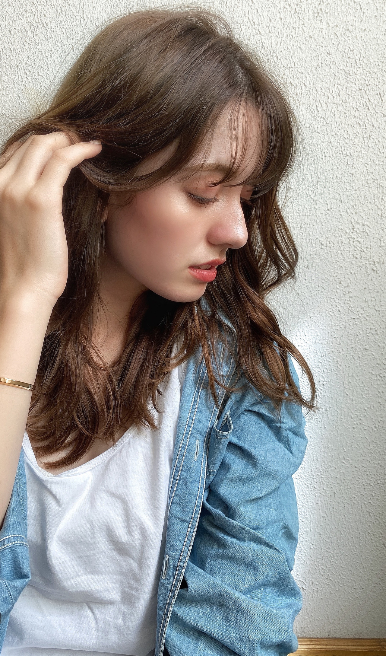 デジタルパーマ イルミナカラー グレージュ セミロングヘアスタイルや髪型の写真・画像