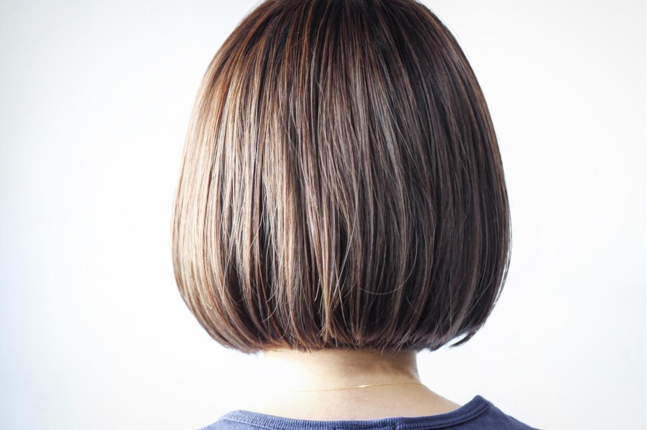 切りっぱなしボブ 極細ハイライト 切りっぱなし ボブ ヘアスタイルや髪型の写真・画像 | creap / creap