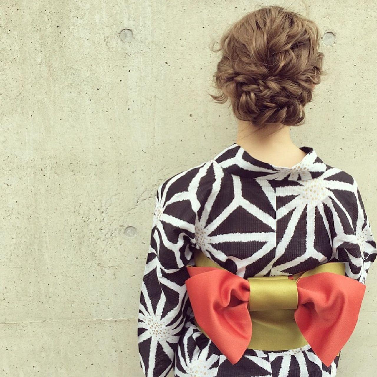 夏 お祭り ナチュラル 和装 ヘアスタイルや髪型の写真・画像 | Kaneko Mayumi / BOTTOMS