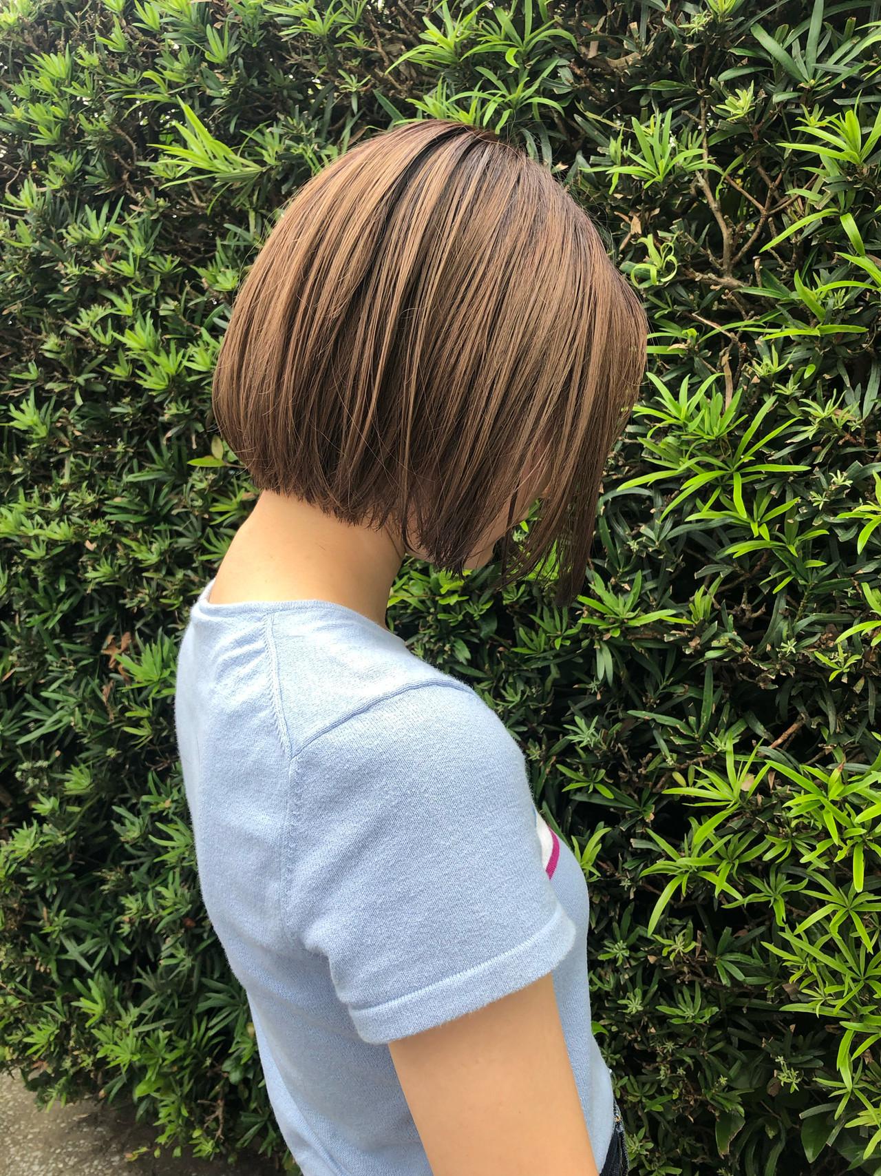 ナチュラル ミニボブ 切りっぱなしボブ ショート ヘアスタイルや髪型の写真・画像 | 岩切 祐樹 / hair make No.8