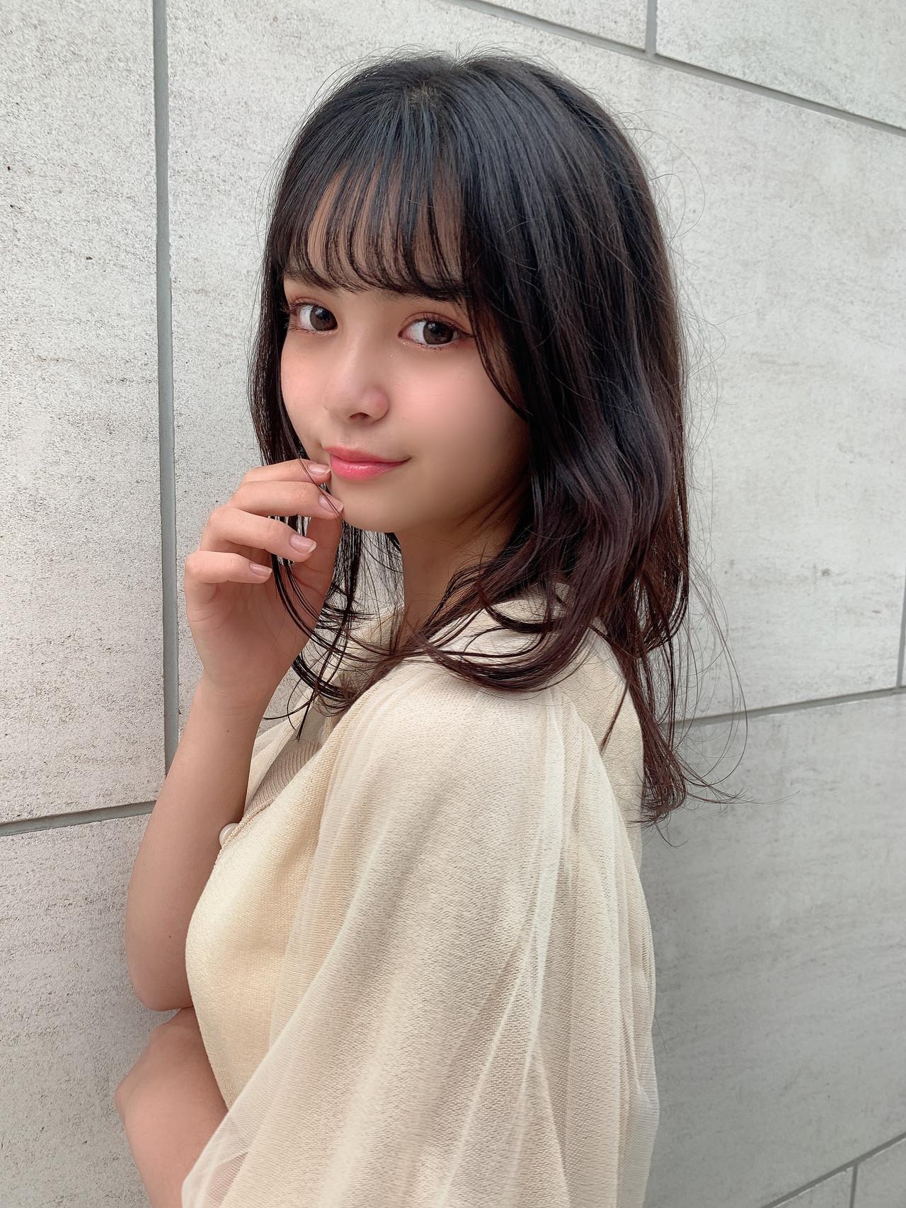 大人ミディアム ナチュラル 韓国ヘア ゆるふわパーマヘアスタイルや髪型の写真・画像